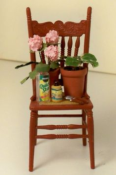 Dollhouse miniature red chair with floweres