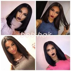 (42.30$) Know more - Bob Hairstyle Straight Black Color Synthetic Lace Front Bob Wig African American Short Wigs Natural Black Female Fashion Bob Wig