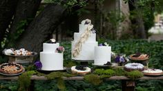 A very green natural way to present the wedding cake table.