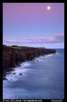 Holei Pali volcanic cliffs and moon at dusk. Hawaii Volcanoes National Park,Part of gallery of color pictures of US National Parks by professional photographer QT Luong, available as prints or for licensing. Hawaii Volcanoes National Park, Volcano National Park, American National Parks, Us National Parks, Cool Photos, Amazing Photos, Amazing Art, Places To Travel, Places To See