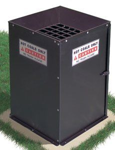 • Model HCB/B-1 Hot Coal Bin is a convenient, economical and safe way for campers, picnickers and tailgaters to dispose of their hot charcoals and ashes from their picnic grills. This unit will help prevent the dumping of hot coals on the ground. The Hot Coal Bin is a perfect site feature for camping and picnic landscapes,