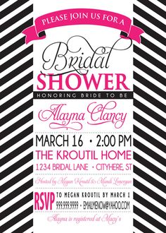 BRIDAL SHOWER INVITATION pink and black