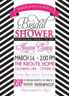 BRIDAL SHOWER INVITATION pink and black