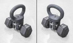KettleClamp - Turns Any Dumbbell to a Kettlebell - Rogue Fitness Kettlebell Routines, Kettlebell Set, Kettlebell Training, Training Workouts, Fitness Workouts, Diy Home Gym, Rogue Fitness, Garage Gym, Fitness Gear
