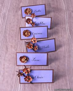 Rehearsal Dinner- Pinecone Place Card Florets burst from place cards, made by gluing card stock over veneer paper; prop up the cards with a triangle of heavy paper glued underneath, perpendicular to the veneer. Place Card How-To Martha Stewart Crafts, Martha Stewart Weddings, Plan Your Wedding, Diy Wedding, Wedding Ideas, Dream Wedding, Wedding Pins, Wedding Rustic, Wedding Photos