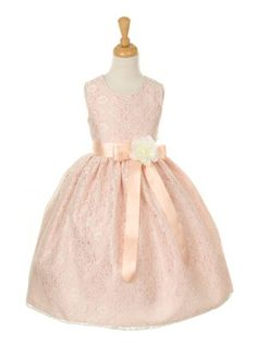 Dusty Rose Pick Your Ribbon Sash Elegant Lace Flower Girl Dress (Sizes Infant-14 in 5 Colors)