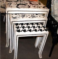 black & white painted nesting tables with nail head embellishment Black Painted Dressers, Funky Painted Furniture, Decoupage Furniture, White Furniture, Repurposed Furniture, Unique Furniture, Furniture Projects, Table Furniture, Furniture Making