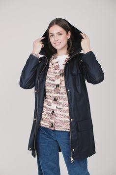 Hyades jacket - Dark blue by Fleischer Couture Dark Blue, Raincoat, Coats, Couture, Jackets, Fashion, Rain Gear, Down Jackets, Moda