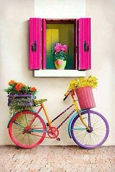 Full Round DIY Diamond Painting Flowers And Bicycles Embroidery Cross Stitch Rhinestone Bike Planter, Bicycle Art, World Of Color, Yard Art, Cute Wallpapers, Beautiful Flowers, Garden Design, Colours, Crafts