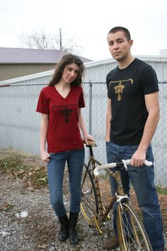 Lets go ride our bikes all over town and show off this neat bicycle stenciled design crew or v-neck shirt with your choice of colors by sacerandsavive on Etsy