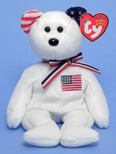 America (whitewith blue left ear) - Bear - Ty Beanie Babies