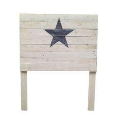 Cabecero blanco estrella azul marino
