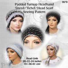 Padded Turnup Headband Head Scarf Tichel Moriya Snood with Ties