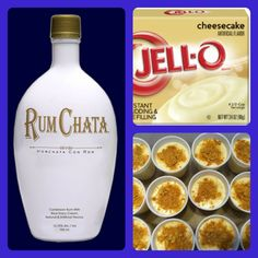 Rum Chata Cheesecake pudding shots I small pkg cheesecake pudding mix, 3/4 c. milk, 3/4 c. Rum Chata, 8 oz cool whip. Mix pudding mix, milk and Rum Chata. Fold in Cool Whip. Fill containers. Sprinkle with ground graham crackers, place in freezer. (drinks with rum chata)