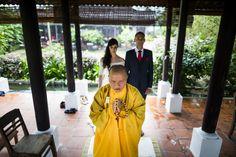 Buddhist blessing during a gorgeous wedding ceremony #HoiAnEventsWeddings #BuddhistBlessing #VietnamBeachWeddings