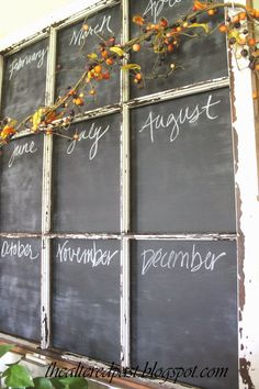 the altered past: Old Window Repurposed into a Chalkboard Calendar One of the best door upcycle's I've seen