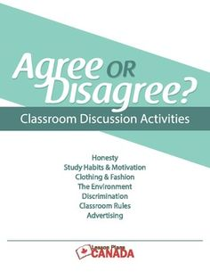 Warm-up, Discussion, Writing Prompt Activities - seven discussion topics:  Classroom Rules, Fashion, the Environment, Honesty, Study Habits and Motivation, Discrimination, and Advertising. Please see my Free product for an eighth topic - Education. Each topic has nine statements on a chart that students can record their answers. Great writing prompts for middle and secondary students. Excellent for secondary or adult ESL students as well.