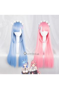 Re Zero Kara Hajimeru Isekai Seikatsu Twins Rem Ram Long Blue Pink Cosplay Cosplay Hair, Lolita Cosplay, Cosplay Outfits, Cosplay Wigs, Anime Wigs, Anime Hair, Kawaii Hairstyles, Cute Hairstyles, Kawaii Wigs