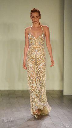 hayley paige fall 2016 bridal week elegant halter neck sheath gown evening dress filigree embroidery