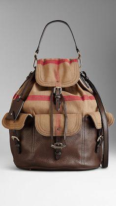 Large Check Canvas Hobo Bag   Burberry