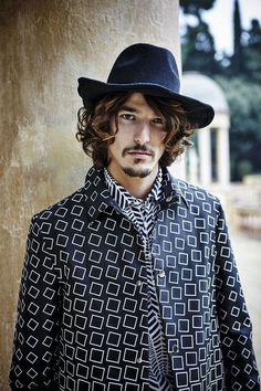 What A Square.  C/o: Emporio Armani  File under: Prints, Patterns, Outerwear, Fedoras