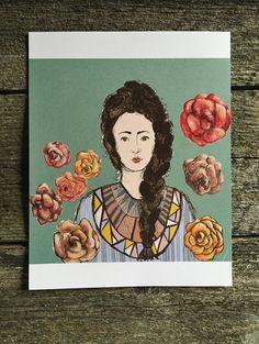 Illustration Print Art Carmella's Roses Girl Art by PoesyRoss
