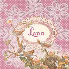 Geboortekaartje Lena- lief nostalgisch romantisch geboortekaartje met vogelnestje - www.petitkonijn.nl