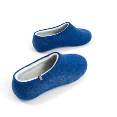 3a13de8ff Boiled wool slippers by Wooppers in blue and white. #felt #wool #slippers