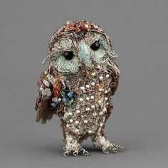 Stunning little standing owl wire and bead sculpture by Susan Horth