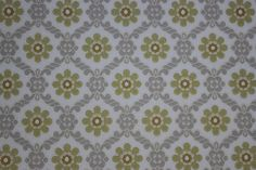 Vintage Wallpaper 1950's Yellow and Gray Floral Geometric--Made in West Germany