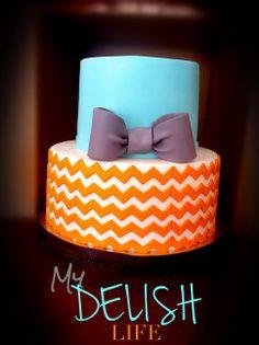 - Baby Shower Cake Tiffany Blue with orange chevron with grey bow Tiered Cake Baby Shower Cake  Boy Baby Shower Cake Www.facebook.com/MyDelishLife