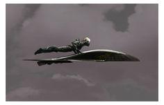 Early Calhoun on space surfboard