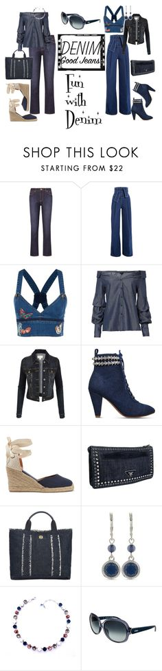 """Denim..."" by tammydevoll ❤ liked on Polyvore featuring Tory Burch, Sara Battaglia, Valentino, Exclusive for Intermix, LE3NO, KG Kurt Geiger, Soludos, Prada, Tommy Hilfiger and Nine West"