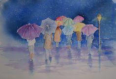 It's raining - aquarel It's Raining, Watercolor, Painting, Art, Pen And Wash, Art Background, Watercolor Painting, Painting Art, Kunst