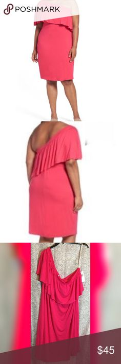 Three Dots One Shoulder Ruffle Dress Size 3X. Color Punchy Pink Measurements bust 26, length 41. Three Dots Dresses Midi