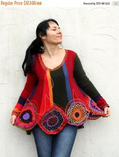 LAST WINTER SALE Reserved for Ana Cantero S-M colorful jersey and crochet rings patchwork appliqued recycled  sweater dress tunic hippie boh