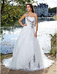 Lanting+Bride+Ball+Gown+Petite+/+Plus+Sizes+Wedding+Dress-Court+Train+One+Shoulder+Organza+–+AUD+$+257.39