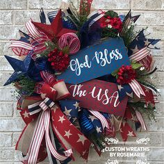 Wreaths make a great decoration for your home or as a gift for someone who appreciates and loves all things handmade by a designer. Custom Wreaths by Rosemarie helps you create beautiful, handmade wreaths for your home from Pearland, Texas. Patriotic Crafts, Patriotic Wreath, July Crafts, Patriotic Quotes, Deco Mesh Wreaths, Holiday Wreaths, Door Wreaths, Yarn Wreaths, Ribbon Wreaths