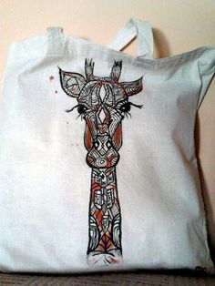 Żyrafa graficzna- torba ręcznie malowana