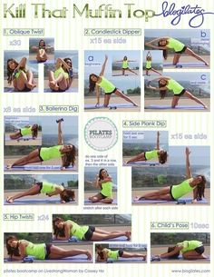 Muffin top workout // UPDATE: Body primarily maintains these positions. DIY exercises Yoga & Pilates for improving health & fitness. Id give it an 8 out of Exercise Fitness, Sport Fitness, Excercise, Fitness Diet, Fitness Models, Health Fitness, Physical Exercise, Health Exercise, Fitness Weightloss