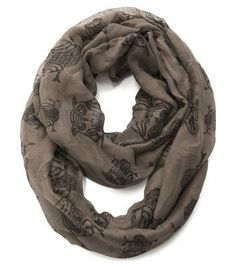 Cozy by LuLu - Wise old Owl Infinity Scarf in Taupe
