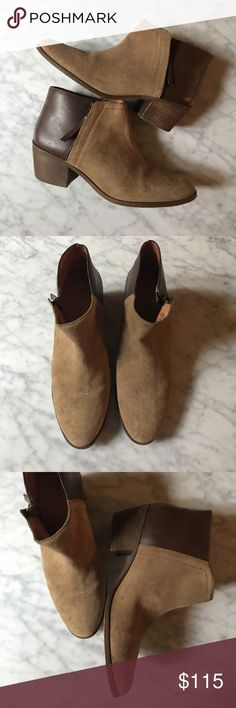 Madewell Charley Bootie Leather/Suede size 9.5 Madewell Charley Bootie Leather/Suede size 9.5. Very good condition. Only worn a few times. Small scuff on the inside of the right foot. Suede and leather. Two tone light brown/dark brown. Zip up the side. Madewell no longer makes them this year. These booties just need a good home! Madewell Shoes Ankle Boots & Booties
