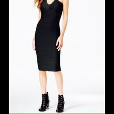💞MATERIAL GIRL BODYCON DRESS🚫trades Material Girl bodycon dress features bandage-style seaming. Has V neckline and a deep V back with a back zipper closure. Midi length,hits at the knee. Great look for a night out. Material is polyester/spandex. Material Girl Dresses Midi