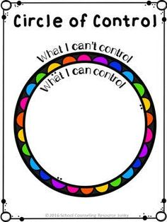 Early Elementary Counseling: What Are Things I Can Control & I Can't Control Circle of Control Activities for Individual Counseling, Small Groups, and Developmental Guidance Lessons. Elementary Counseling, Group Counseling, Counseling Activities, Art Therapy Activities, School Counselor, Social Work Activities, Coping Skills Activities, Mental Health Activities, Coping Skills