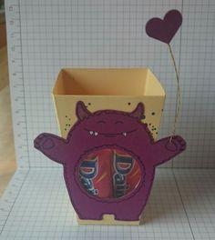 """Monster aus dem Stempelset """"Yummy in my Tummy"""" mit der Popcorn-Schachtel kombiniert"""
