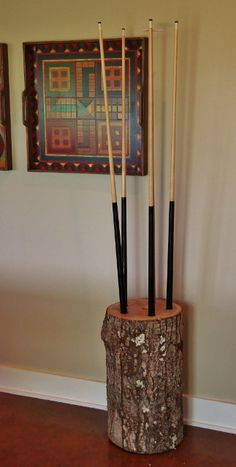 how I made a rustic pool stick rack from a stump