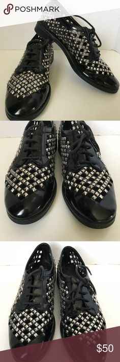 Jeffrey Campbell studded Townsend black oxfords 8 In excellent used condition. Super comfortable  Brand: Jeffrey Campbell  Style: Oxfords  Color: Black Silver  Material: Leather upper, leather lining Jeffrey Campbell Shoes Flats & Loafers