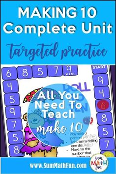 This making 10 unit for first grade has worksheets, activities, games, and centers. You'll find everything you need to teach this important strategy in this complete making 10 unit. Your students will get lots of practice including number bonds, to help them master the make 10 strategy! #making10 #make10 #numberbonds #firstgrade Fun Math Activities, Math Games, Number Sense Kindergarten, Kindergarten Math, Math Division, Number Bonds, Math Graphic Organizers, Math Workshop, Making 10