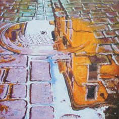 How deep is a puddle? by Scottish painter Michael P Young. Acrylics. Painting size - 30cm wide x 30cm deep. Framed size 50.5cm x 50.5cm. Buy it: http://www.artpal.com/collectableart