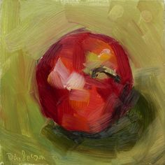 Apple on Green (10 minute preschool demo), 6 by 6 inches, oil on hardboard by Deb Anderson
